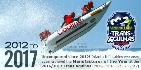 Infanta Inflatables crowned Manufacturer of the Year at Trans Agulhas Challenge 2012 to 2017